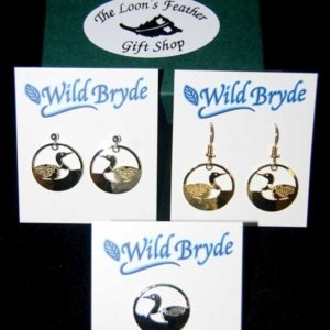 Custom Designed Loon Center Earrings and Pin/Tie Tack