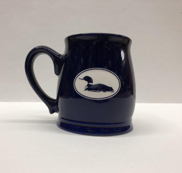 Cobalt Blue Tankard with Etched Loon