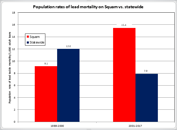 Population rates of lead mortality on Squam vs. statewide