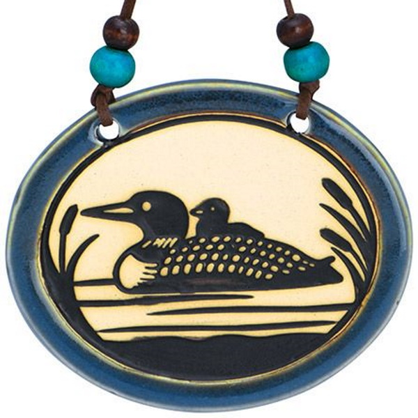 Pottery Disk Loon Ornament